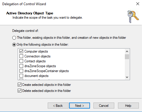 AD Delegation Wizard Object Type