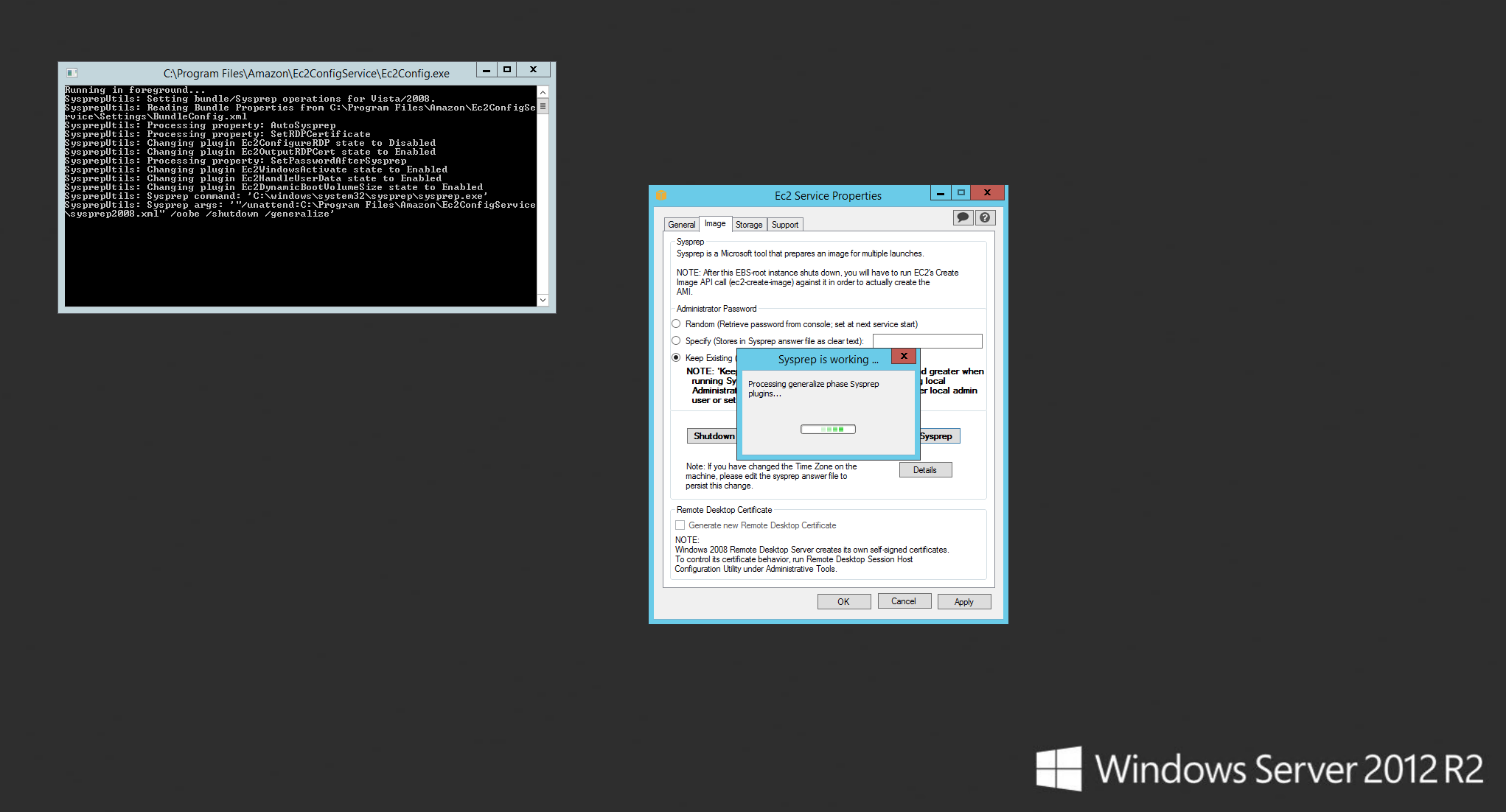 Windows Server 2012 R2 Sysprep with EC2Config Service - beta