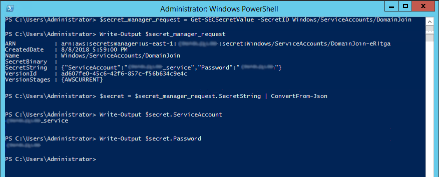 Secrets Manager PowerShell Example